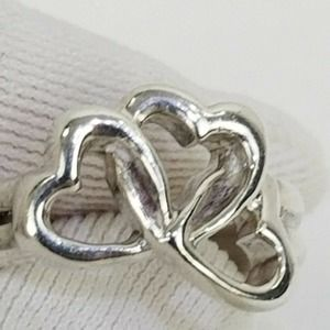 Tiffany &Co Triple Hearts Silver 3.5 Knuckle Ring